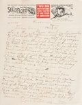"""Autographs:Celebrities, William """"Buffalo Bill"""" Cody Autograph Letter Signed""""Brother."""" One page, on Sells-Floto/Wild West Showletterhea..."""