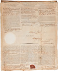 "Autographs:U.S. Presidents, George Washington Signed Three Languages Ship's Paper. One sheet, 13"" x 16"", November 21, 1796...."
