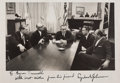 "Autographs:U.S. Presidents, Lyndon B. Johnson Photograph Inscribed and Signed of the Kennedy Funeral Meeting at the White House. 11.75"" x 8"" black and w..."