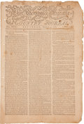 Autographs:Statesmen, [John Jay's Nomination as Chief Justice.] Newspaper: ProvidenceGazette and Country Journal reporting George Washing...