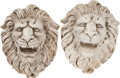 Movie/TV Memorabilia:Memorabilia, Pair of Plaster Cast Lion Heads by Bud Westmore.... (Total: 2 Items)