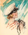 Mainstream Illustration, HARRISON FISHER (American, 1875-1934). Cosmopolitan magazinecover, August 1933. Gouache and watercolor on board. 18.5 x...