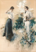 Paintings, HOWARD CHANDLER CHRISTY (American, 1872-1952). In the Field, 1902. Charcoal and watercolor on board. 39 x 27.5 in.. Sign...