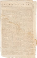 """Miscellaneous:Newspaper, George Washington's """"Letter to the Several States"""": SalemGazette Newspaper, July 24, 1783. Four pag..."""