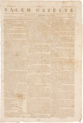 Miscellaneous:Newspaper, Extracts from the Journal of the U.S. Congress: Salem Gazette Newspaper, September 11, 1783. Four pa...