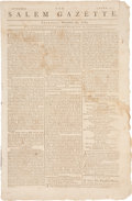 "Miscellaneous:Newspaper, George Washington's Farewell Orders to the Army: SalemGazette Newspaper, November 20, 1783. Four pages, 10"" x 1..."