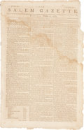 "Miscellaneous:Newspaper, Slavery: Salem Gazette Newspaper, October 9, 1783. Fourpages, 10"" x 15.5"". Printed on page one is a table showi..."