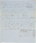 """Miscellaneous:Ephemera, Slave Distribution Listing. One page, on blue lined paper, 8"""" x9.25"""", n.p., January 6, 1858. ..."""