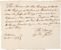 "Military & Patriotic:Revolutionary War, Revolutionary War Pass to Secure Medical Supplies. One page, 8"" x 6.75, ""Bethlehem, 29th April 1778."" ..."