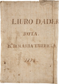 """Log Book of the Brig Maria Thereza. Approximately 130 pages, 9"""" x 15"""", various locat"""