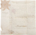 Autographs:Statesmen, John Dickinson Patent Deed Signed as president of the SupremeExecutives Council and issued to George and Frederick ...