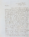 """Autographs:U.S. Presidents, John Tyler Autograph Letter Signed Twice, once as the closing ofthe letter (""""J. Tyler"""") and once as a free frank(""""J...."""