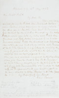 """Autographs:Military Figures, John Brown Autograph Letter Signed. One page, 7.75"""" x 12.75"""",Peterborough, New Hampshire, May 15, 1857, to Gerrit Smith, on..."""
