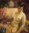 Paintings, HOWARD CHANDLER CHRISTY (American, 1872-1952). Reclining Nude. Oil on canvas. 27 x 24 in.. Not signed. From the Esta...