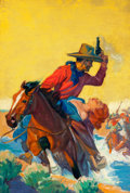 Pulp, Pulp-like, Digests, and Paperback Art, WALTER MARTIN BAUMHOFER (American, 1904-1987). Dime WesternMagazine pulp cover, February 1934. Oil on canvas. 35.25 x 2...