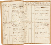 """Log Book of the Schooner Vulture, 1808. Sixteen pages, 8"""" x 12.5"""", various locations"""