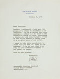 "Autographs:U.S. Presidents, Richard M. Nixon Typed Letter Signed ""RN"" as President, onepage on White House letterhead, 7"" x 9"", Washington,..."