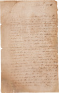 "Autographs:U.S. Presidents, George Washington Letter Signed Twice ""G: Washington"" (onceat the close of the letter and once as a free frank; both on..."