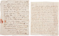 Autographs:Military Figures, Revolutionary War Autograph Letters (Two) Signed by two different women, dated 1778 and 1781. The women display through thes... (Total: 2 Items)