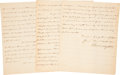 """Autographs:Statesmen, Edward Livingston Autograph Letter Signed as ministerplenipotentiary to France describing the """"disturbedsituation"""" of ..."""