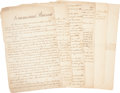 """Autographs:Statesmen, [William Pitt] Report to William Pitt discussing, in part, theslave trade from Africa. Seven and one-quarter pages, 8"""" x 13..."""