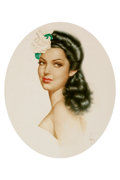 Mainstream Illustration, ALBERTO VARGAS (American, 1896-1982). Linda Darnell.Watercolor on paper. 16 x 13 in.. Signed lower right. ...