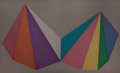 Prints:Contemporary, SOL LEWITT (American, 1928-2007). Two Pyramids - Fourcolors, 1986. Silkscreen in colors. 38 x 62 inches (96.5 x157.5 c...