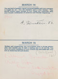 """Autographs:Inventors, Albert Einstein and Robert Oppenheimer Signatures in a """"Birthdays"""" Date Book. Small, leather-bound date book measuring appr... (Total: 2 Items)"""