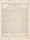 "Miscellaneous:Broadside, New York Colonization Society Broadside. Alexander Proudfit: ""Address to the Emigrants, Upon Embarking for the Col..."