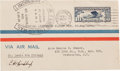 "Autographs:Celebrities, Charles Lindbergh Flown Cover Signed. 6"" x 3.5"" envelope with""Lindbergh Again Flies the Air Mail"" handstamp, St.Louis,..."