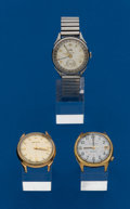 Timepieces:Wristwatch, Three - Wristwatches, 2 Accutrons 1 Benrus Calendar. ... (Total: 3 Items)