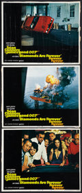"""Movie Posters:James Bond, Diamonds Are Forever (United Artists, 1971). Lobby Cards (3) (11"""" X 14""""). James Bond.. ... (Total: 3 Items)"""