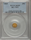 California Fractional Gold: , 1868 25C Indian Octagonal 25 Cents, BG-799T, High R.5, MS64 PCGS.PCGS Population (14/6). NGC Census: (2/4). (#10646)...