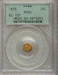 California Fractional Gold: , 1875 25C Indian Octagonal 25 Cents, BG-797, Low R.4, MS64 PCGS.PCGS Population (36/21). NGC Census: (4/2). (#10624)...