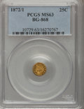 California Fractional Gold: , 1872/1 25C Indian Round 25 Cents, BG-868, High R.4, MS63 PCGS. PCGSPopulation (11/32). NGC Census: (4/7). (#10729)...