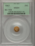 California Fractional Gold: , 1867 25C Liberty Octagonal 25 Cents, BG-709, R.4, MS64 PCGS. PCGSPopulation (23/36). NGC Census: (2/11). (#10536)...
