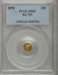 California Fractional Gold: , 1870 25C Liberty Octagonal 25 Cents, BG-763, Low R.4, MS63 PCGS.PCGS Population (15/4). NGC Census: (6/2). (#10590)...