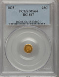 California Fractional Gold: , 1875 25C Indian Round 25 Cents, BG-847, R.4, MS64 PCGS. PCGSPopulation (27/2). NGC Census: (1/0). (#10708)...