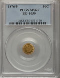 California Fractional Gold: , 1876/5 50C Indian Round 50 Cents, BG-1059, R.4, MS63 PCGS. PCGSPopulation (19/10). NGC Census: (4/5). (#10888)...
