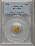California Fractional Gold: , 1870 50C Liberty Round 50 Cents, BG-1010, R.3, MS64 PCGS. PCGSPopulation (41/19). NGC Census: (6/4). (#10839)...