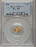 California Fractional Gold: , 1870 25C Goofy Head Round 25 Cents, BG-867, R.4, MS63 PCGS. PCGSPopulation (16/9). NGC Census: (6/2). (#10728)...