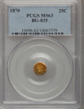 California Fractional Gold: , 1870 25C Liberty Round 25 Cents, BG-835, R.3, MS63 PCGS. PCGSPopulation (21/7). NGC Census: (6/1). (#10696)...