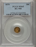 California Fractional Gold: , 1870 50C Liberty Octagonal 50 Cents, BG-908, R.5, MS65 PCGS. PCGSPopulation (11/6). NGC Census: (2/4). (#10766)...