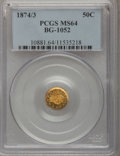 California Fractional Gold: , 1874/3 50C Indian Round 50 Cents, BG-1052, High R.4, MS64 PCGS.PCGS Population (13/3). NGC Census: (3/2). (#10881)...
