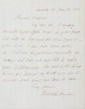 "Autographs:Celebrities, Frederick Douglass Autograph Letter Signed. One page, 6.25"" x 8"",Anacostia, D.C., June 28, 1888, to ""Private [James M.]...(Total: 3 Items)"