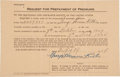 Autographs:Others, 1924 Babe Ruth Signed Insurance Document....