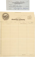 Autographs:Checks, 1928 George H. Babe Ruth & Christy Walsh Signed Check....