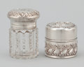 Silver Holloware, American:Desk Accessories, TWO AMERICAN SILVER AND GLASS INK WELLS . Gorham Manufacturing Co.,Providence, Rhode Island, circa 1910. Marks: (lion-ancho... (Total:3 Items)