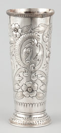 Silver & Vertu:Hollowware, AN AMERICAN SILVER VASE. Maker unidentified, American or Canadian, circa 1880. Marks: S (crown) E, (lion passant), ...