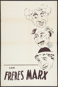 """Marx Brothers Stock Poster (MGM, R-1950s). French Affiche (25"""" X 38""""). Comedy"""
